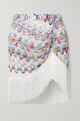 Missoni Fringed Ruched Metallic Crochet-knit Mini Skirt - White