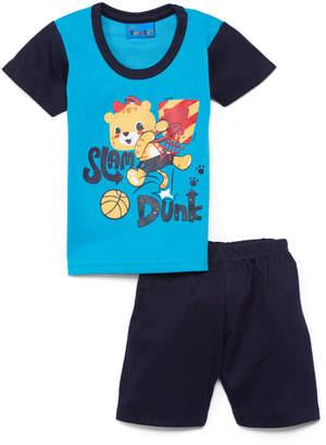 Sweet & Soft Boys' Casual Shorts Blue - Turquoise & Navy 'Slam Dunk' Tiger Tee & Shorts - Infant