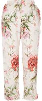 River Island Womens Pink floral cropped straight leg trousers