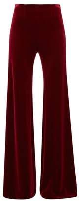 Galvan Winter Sun Flared Velvet Trousers - Womens - Burgundy