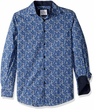 Azaro Uomo Men's Big and Tall Italian Style Long Sleeve Dress Shirt Casual Button Down