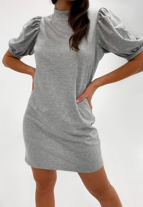 Missguided Gray Puff Sleeve Sweater Dress