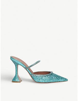 Amina Muaddi Gilda glitter-leather heeled mules