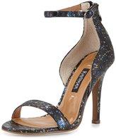 Neiman Marcus Mannix Paint-Splatter Snakeskin Sandal, Black/Iridescent