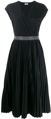 Brunello Cucinelli pleated-skirt V-neck dress