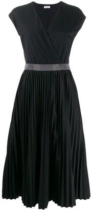Brunello Cucinelli pleated-skirt V-neck dress