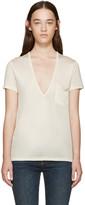 Saint Laurent Cream Silk V-Neck T-Shirt