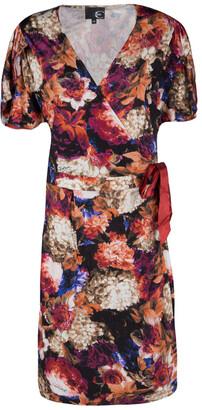 Just Cavalli Floral Printed Knit Wrap Dress L