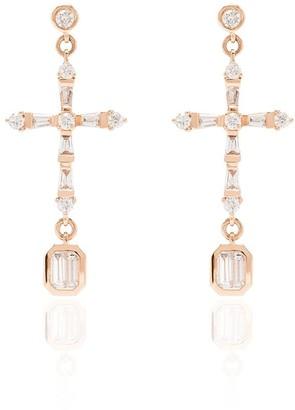 Shay 18kt rose gold Cross diamond drop earrings