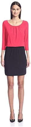 Society New York Women's 3/4 Sleeve Blouson Dress
