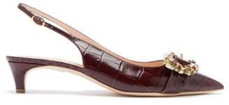 Rupert Sanderson Promise Crocodile Effect Leather Slingback Pumps - Womens - Burgundy
