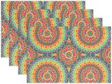 """Franzibla Indian Mandala Placemat Table Mat, 12"""" x 18"""" Polyester Place Mat for Kitchen Dining Room Set of 4"""