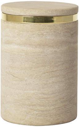 Broste Copenhagen - 'Ring' Sandstone Storage Jar - Sand/Brass - Large