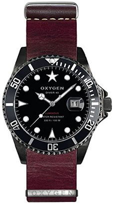 Oxygen Moby Dick Black 40 Mens Quartz Watch with Black Dial Analogue Display and Purple Leather Strap EX-D-MBB-40-NL-PL