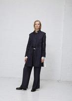 Ann Demeulemeester wainwright violet / black tie front stripe coat