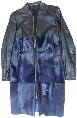 HUGO BOSS Blue Leather Coat for Women