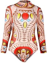 Viottis Women's Mesh Long Sleeve One-piece Bodysuit Rashguard Rose Red XL