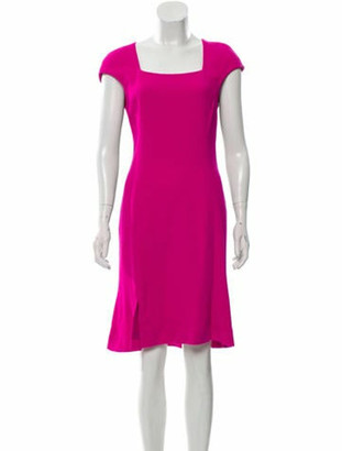 Oscar de la Renta 2017 Wool Dress Fuchsia