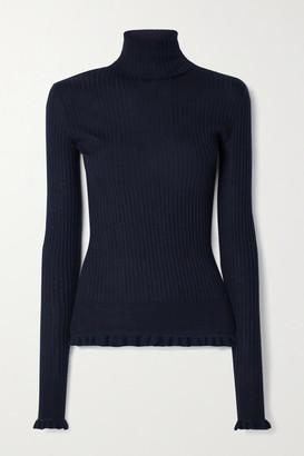 The Row Arzino Ruffled Ribbed Cashmere And Silk-blend Turtleneck Sweater - Navy