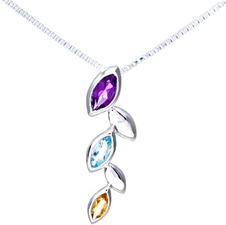 Citerna Silver Multi Stone Ladies Pendant and 41 cm + 5 cm Extender Chain