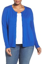 Sejour Plus Size Women's Crewneck Cardigan