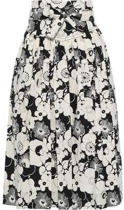 Marc Jacobs Belted Pleated Floral-print Cotton-blend Skirt