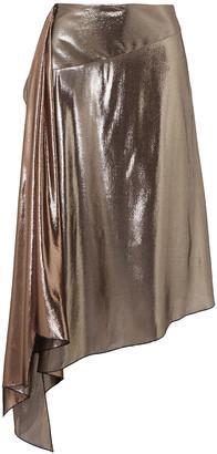 Givenchy Asymmetric Draped Lame Midi Skirt