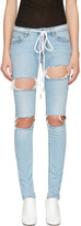 Off-White Blue Diagonal Ripped Skinny Jeans