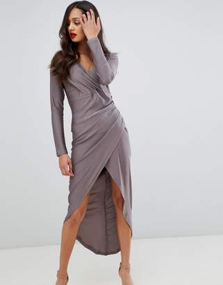 AX Paris long sleeve wrap dress with ruched detail-Gray