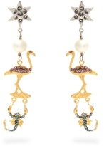 Miu Miu Flamingo and scorpion clip-on earrings