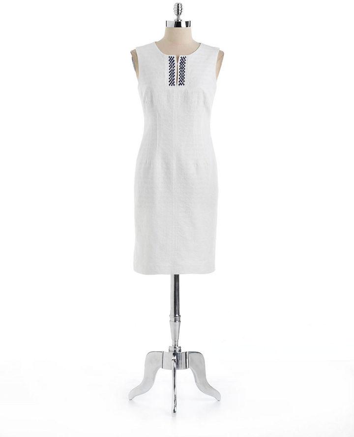 Anne Klein Cotton Jacquard Sheath Dress