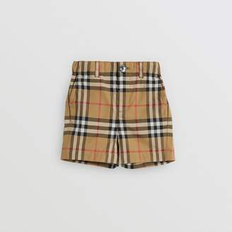 Burberry Childrens Vintage Check Cotton Tailored Shorts