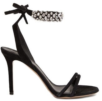 Isabel Marant Alrina Crystal-embellished Suede Sandals - Black Silver