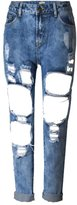 Mljsh Women's Destroyed Holes Boyfriend Jeans Blue Ripped Washed Denim Trousers Size 2