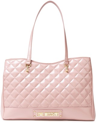 Love Moschino Logo-embellished Faux Pebbled-leather Tote