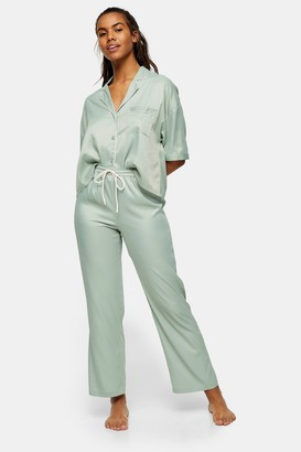 Topshop Womens Sage Satin Pyjama Set - Black