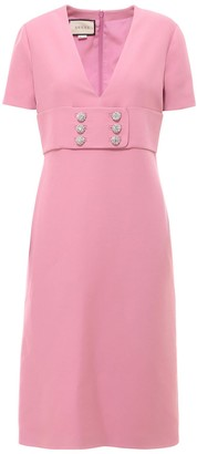 Gucci Rhinestone Detailed V-Neck Dress