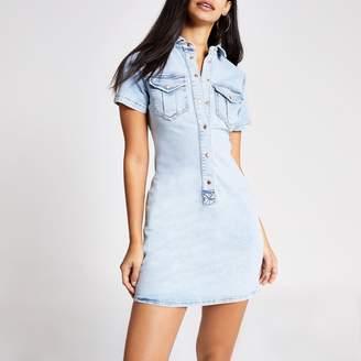 River Island Womens Light Blue denim shirt dress