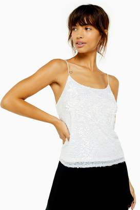 Topshop Womens Embellished Sequin Camisole - White