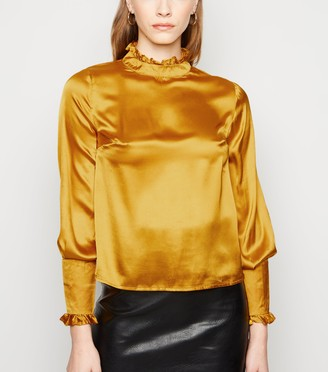 New Look Sunshine Soul Satin Frill Neck Blouse