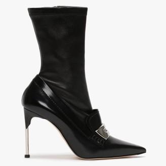 Alexander McQueen Metal Bar Black Leather Needle Heel Ankle Boots