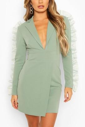 boohoo Organza Frill Sleeve Crepe Blazer Dress