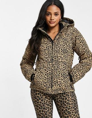 Protest Dallas leopard ski jacket in brown
