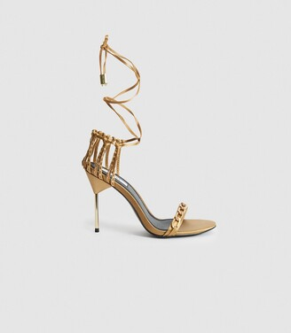 Reiss Zhane Chain - Satin Strappy Wrap Sandals in Caramel