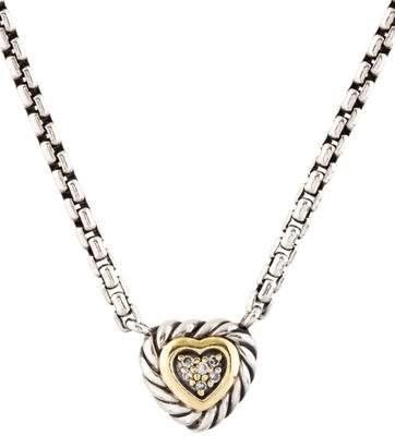 David Yurman Diamond Cable Heart Pendant Necklace