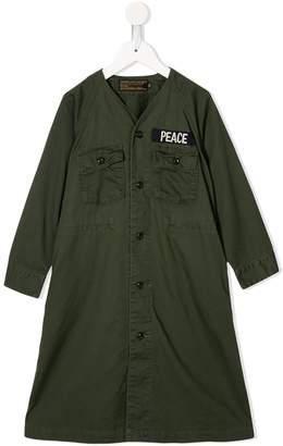 Denim Dungaree military-style slogan dress