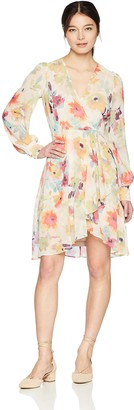 Calvin Klein Women's Long Sleeved V Neck Chiffon Faux Wrap Dress
