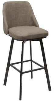 Winston Porter Bales Upholstered Curved Back Adjustable Height Swivel Bar Stool Color: Tan