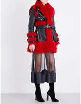 Alexander McQueen Biker-collar leather and shearling coat