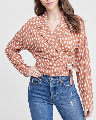 Express Emory Park Printed Wrap Front Top